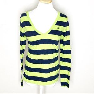 Gilly Hicks striped green navy blue long sleeve